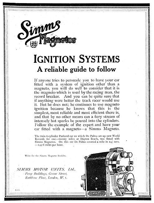 Simms Motor Units - Simms Magnetos 1919