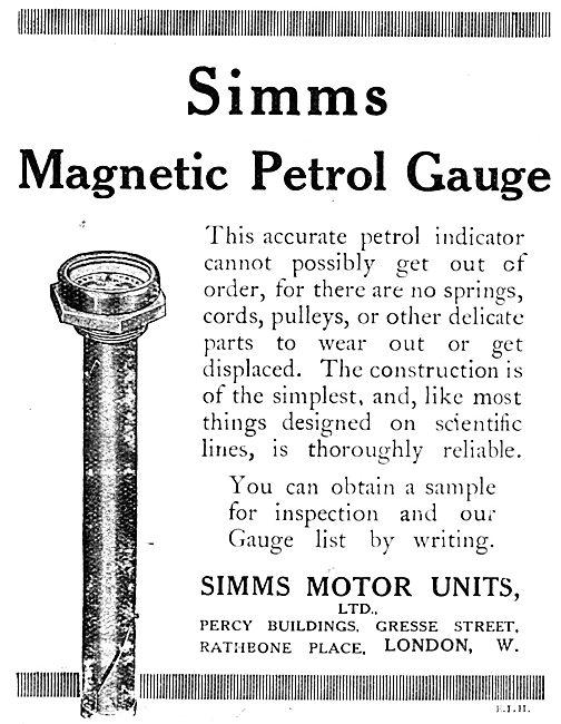 Simms Magnetic Petrol Gauges 1917 Advert
