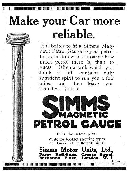 Simms Motor Units Simms Magnetic Petrol Gauge
