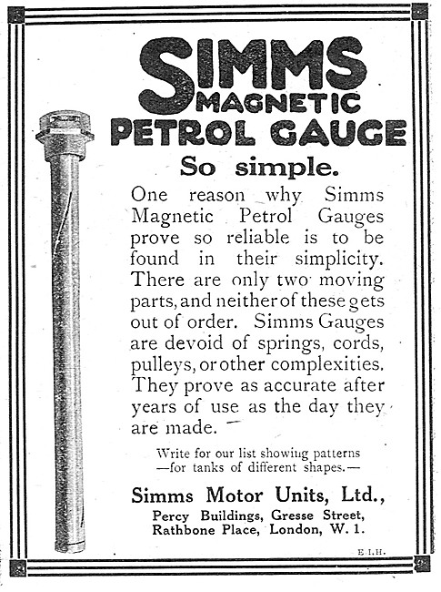 Simms Motor Units Magnetic Petrol Gauges For Aircraft