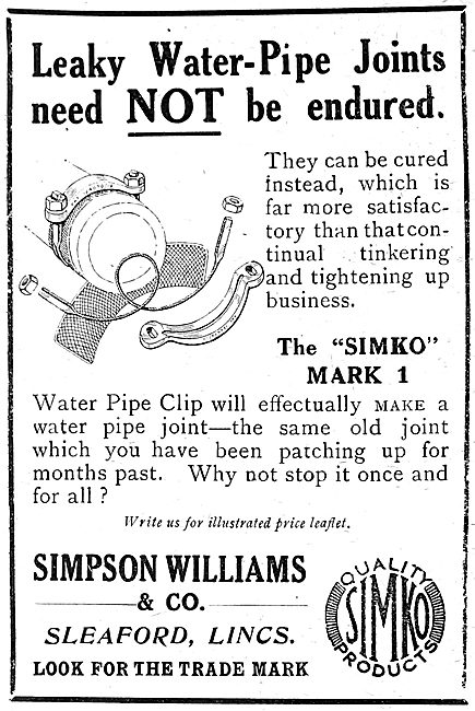 Simpson Williams & Co. SIMKO PIpe Clips. 1919