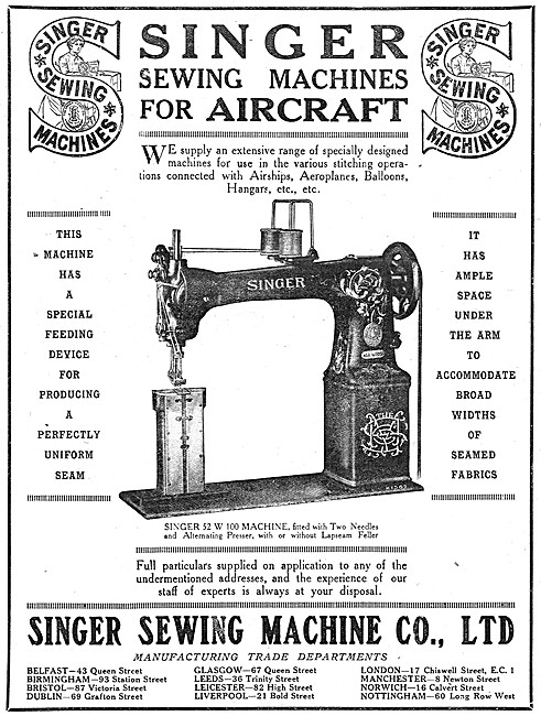 Singer Sewing Machines For Aircraft. Singer 52 W 100