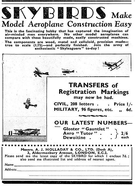 Skybirds Model Aircraft Sets - Transfers Of Registration Markings