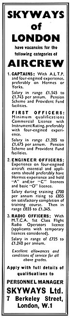 Skyways Air Transport Services - Pilot Recruitment 1955