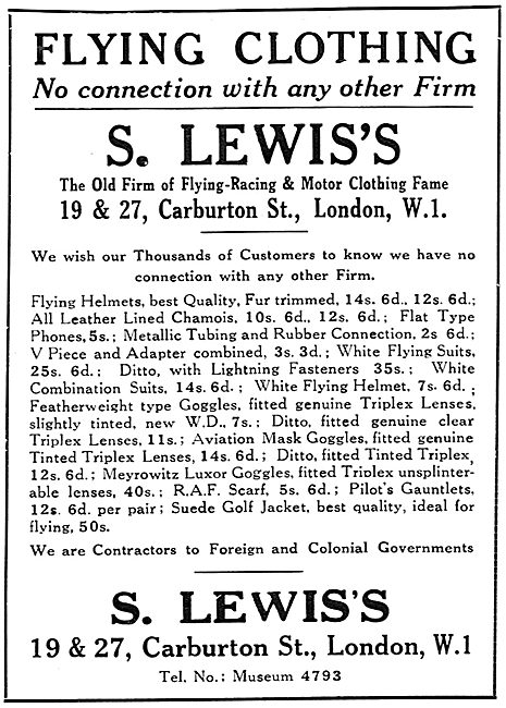 S.Lewis's Flying Clothing 1929 Advert