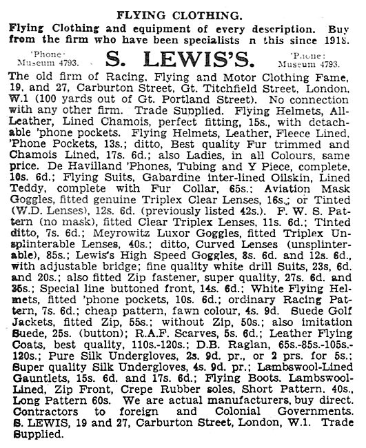 S.Lewis's Flying Clothing Listings.