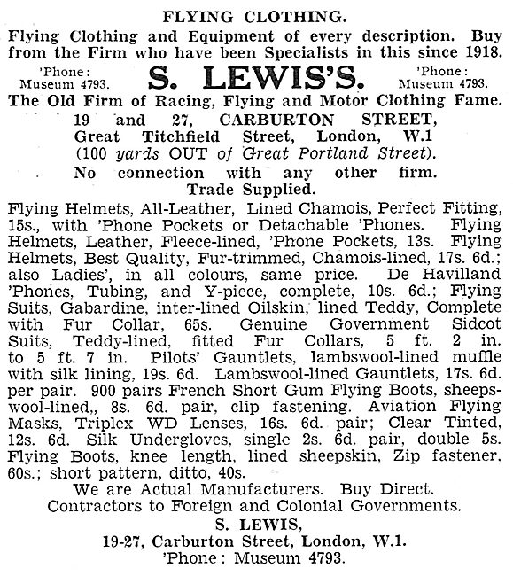 S.Lewis's Flying Clothing. Carburton St London.