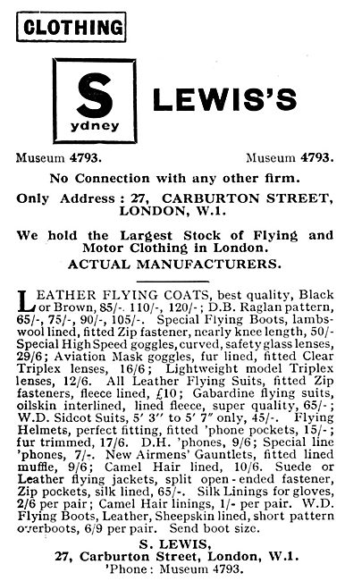 S.Lewis's Flying Clothing 1931