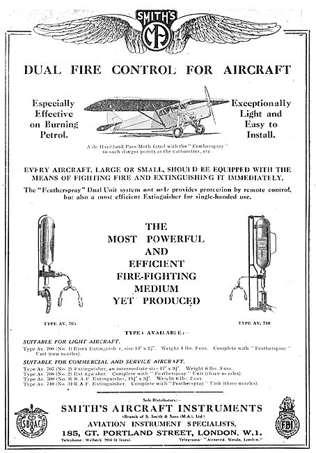 Smiths Dual Fire Control For Aircraft - Puss Moth Featherspray