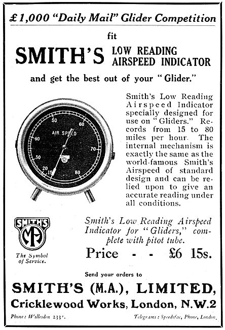 Smiths Low Reading Airspeed Indicator For Gliders 1922