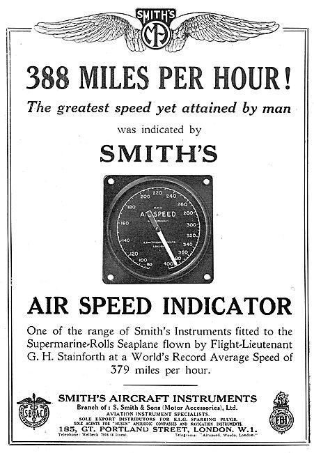 Smiths Airspeed Indicator - Stainforth Speed Record