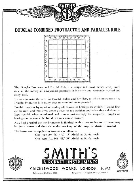 Smiths Combined Douglas Protractor & Parallel Rule