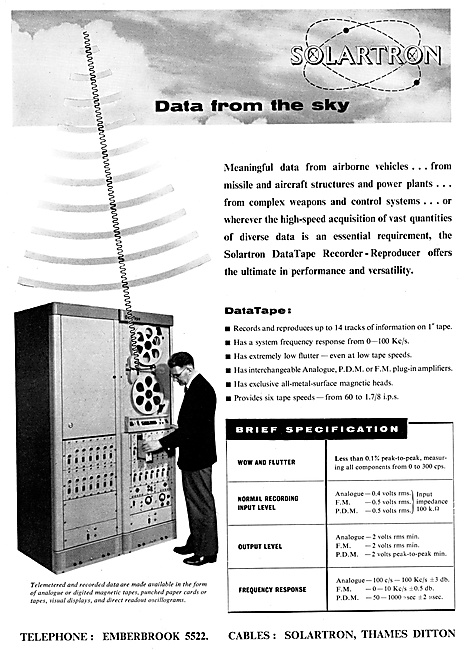 Solartron Air Data Tape Recorders - Reproducers