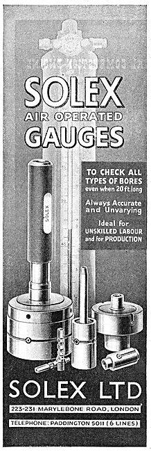 Solex  Industrial Air Operated Gauges 1942 Advert
