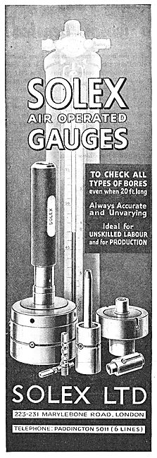 Solex Air Operated Engineering Check Gauges 1943