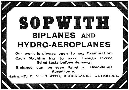Sopwith Biplanes & Hydro-Aeroplanes 1912