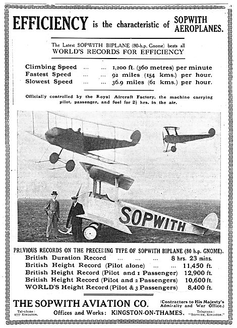 Efficiency Is The Characteristic Of Sopwith Aeroplanes