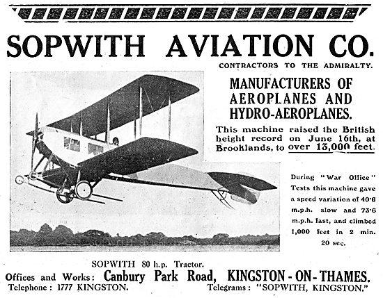 Sopwith Aviation. Manufacturers Of Aeroplanes & Hydro-Aeroplanes