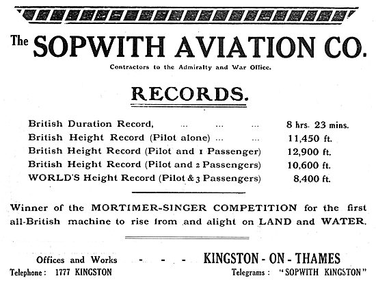 Sopwith - Winner Of The Mortimer-Singer Flying Competition