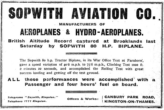 British Altitude Record Captured By The Sopwith 80 HP Biplane