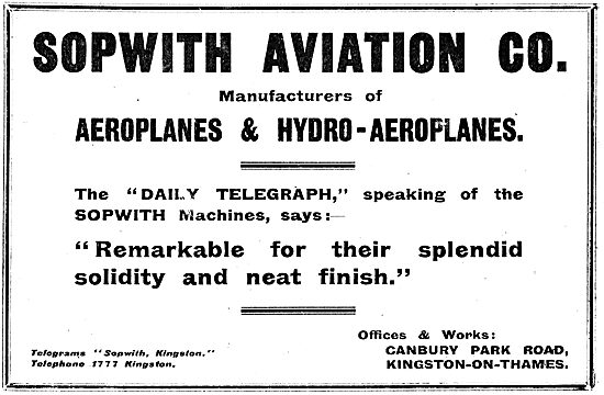 The Daily Telegraph Praises Sopwith Aeroplanes For Their Solidity