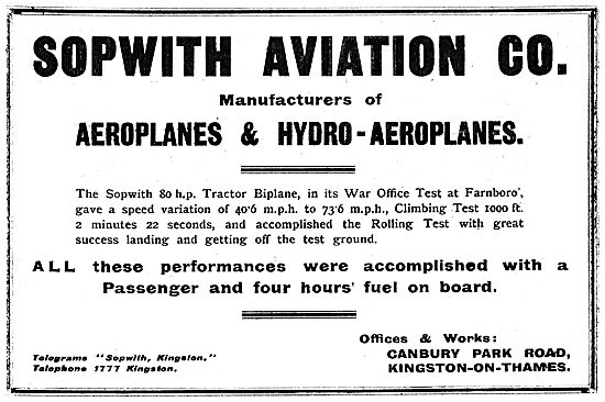 The Sopwith 80 HP Tractor Biplane Completes War Office Tests