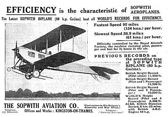Sopwith Biplane - 80 HP Gnome Engine.