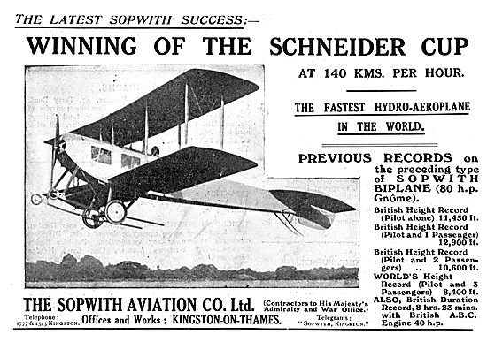 Sopwith Hydro-Aeroplane Wins The Schneider Cup At 140 KPH