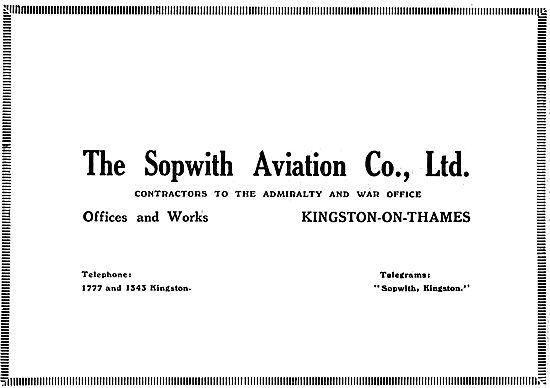 Sopwith Aviation Co. Office & Works Kingston-Upon-Thames