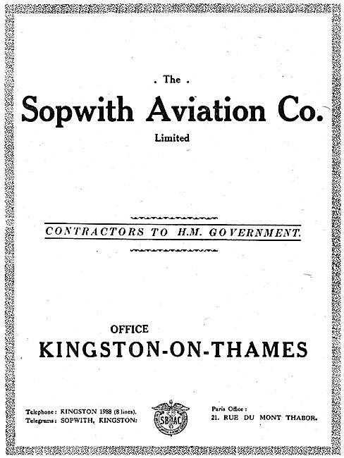 Sopwith Aviation Co. Kingston-On-Thames