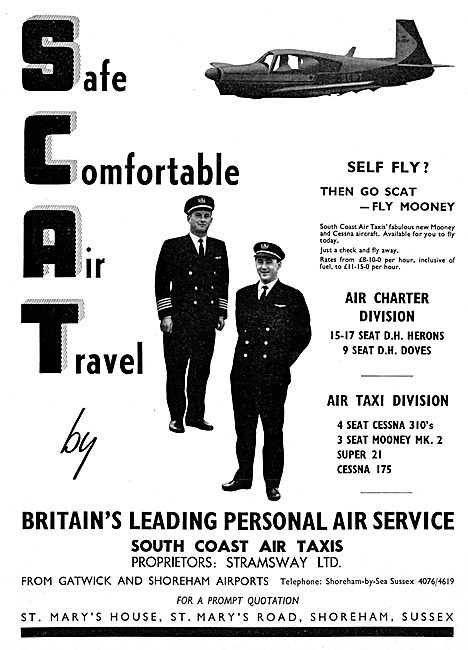 SCAT -South Coast Air Taxis. Gatwick & Shoreham. 1965