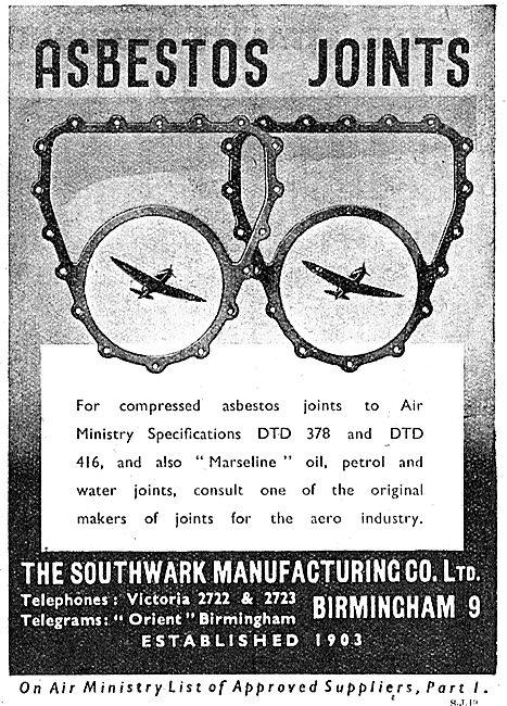Southwark Manufacturing Asbestos Joints 1942 Advert