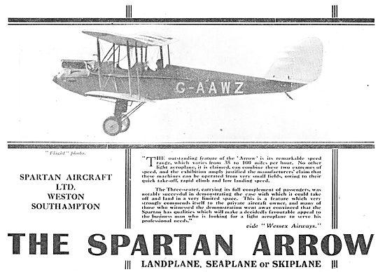 Simmonds Spartan Aircraft  Arrow - Landplane Or Seaplane. G-AAWZ