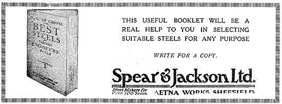 Spear & Jackson. Steelmakers. 1919 Advert