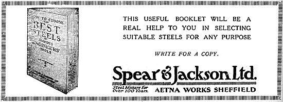 Spear & Jackson. Steelmakers. 1920 Advert