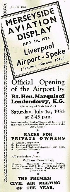 Display To Mark Opening of Liverpool Speke Airport