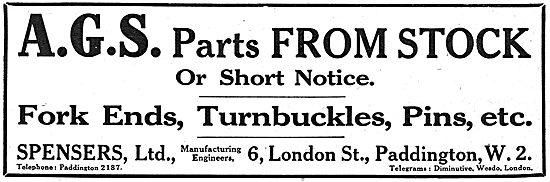 Spensers Ltd. 6 London St, Paddington.  AGS Parts