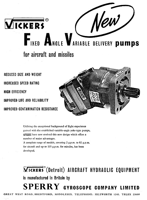 Sperry Vickers Hydraulic Equipment For Aircraft & Missiles