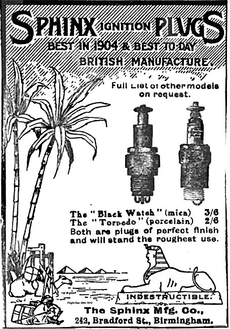 Sphinx Ignition Plugs For Aeroplane Engines