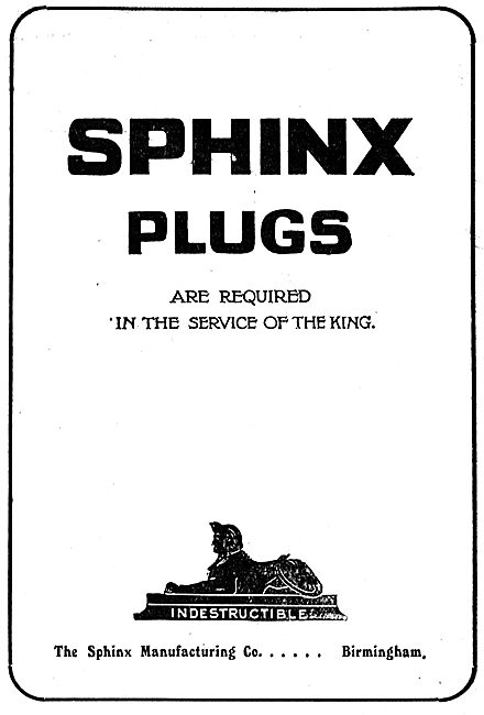 Sphinx Aero Sparking Plugs Required In The Service Of The King