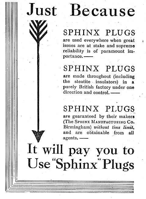It Will Pay You To Fit Sphinx Aero Engine Sparking Plugs