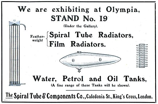 Spiral Tube Aeroplane Radiators, Water, Petrol & Oil Tanks.