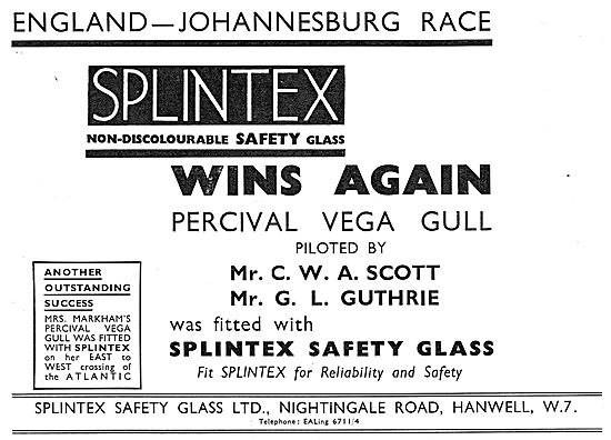 Splintex Safety Glass For Aircraft - Percival Vega Gull