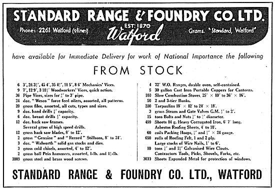 Standard Range & Foundry Building Supplies 1942 Advert