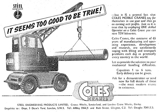 Steels Engineering Products Coles Cranes 1946