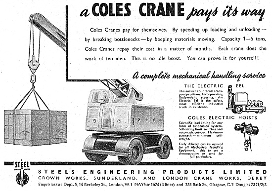 Steels Engineering Products Coles Cranes 1947 Advert