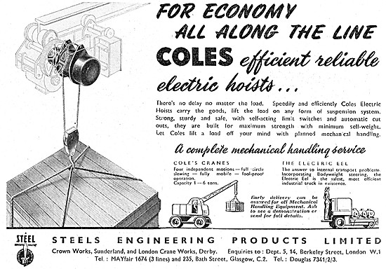 Steels Engineering Products Coles Cranes & Electric Hoists