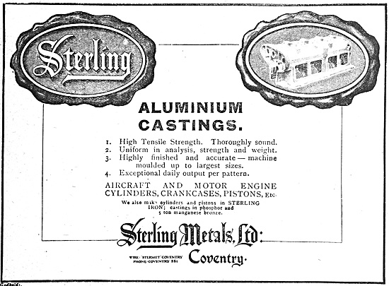 Sterling Metals Coventry - Aluminium Castings 1918 Advert