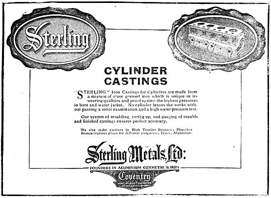 Sterling Metals Coventry - Cast Iron Cylinders 1919