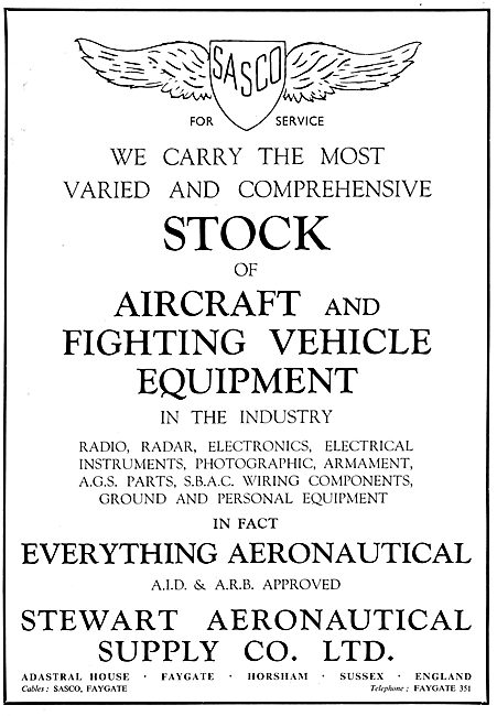 Stewart Aeronautical Supply : SASCO. Aircraft Spares Stockists